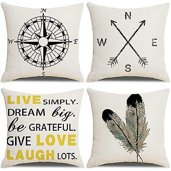 Kissenbezüge 18x18 Nautical Arrow Compass Muster Baumwolle Leinen Werfen Kissenbezüge Kissenbezüge für Sofa
