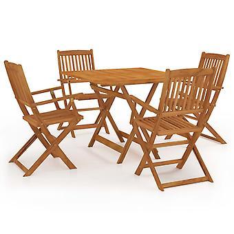 Chunhelife 5 pièces pliant jardin salle à manger ensemble solide bois d'acacia