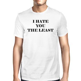 私はあなたに男性のための少なくとも白半袖ラウンド ネック t シャツを憎む