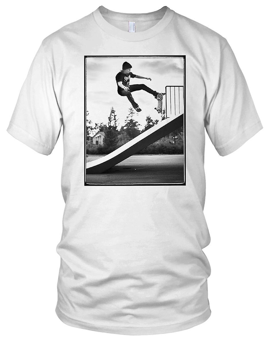Skater rampen Stunt - B&W Skateboarder Skateboard Mens T-skjorte