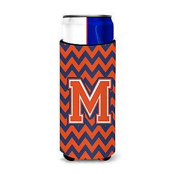 Letter M Chevron Orange Blue Ultra Beverage Insulators for slim cans