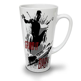 Skater Grind It NEW White Tea Coffee Ceramic Latte Mug 12 oz | Wellcoda