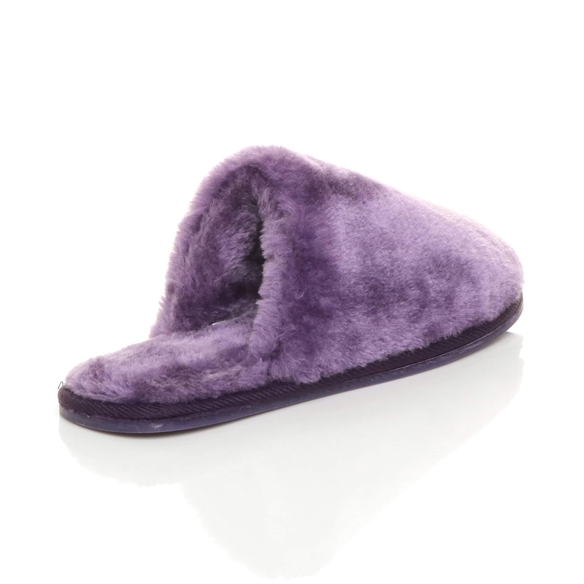 Ajvani womens plat hiver luxe confortable moelleux faux peau de mouton doublée de fourrure feuillet sur chaussons mules - Remise particulière