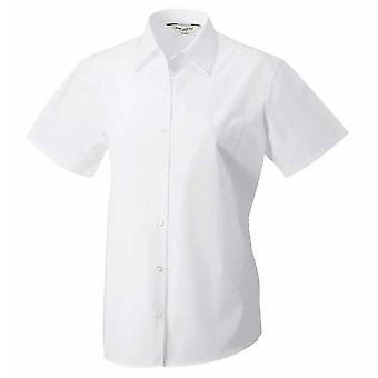 Russell Collection Ladies Short Sleeve 100% cotton poplin shirt