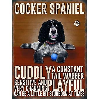 Medium Wall Plaque 200mm x 150mm - Tri Colour Cocker Spaniel by The Original Metal Sign Co