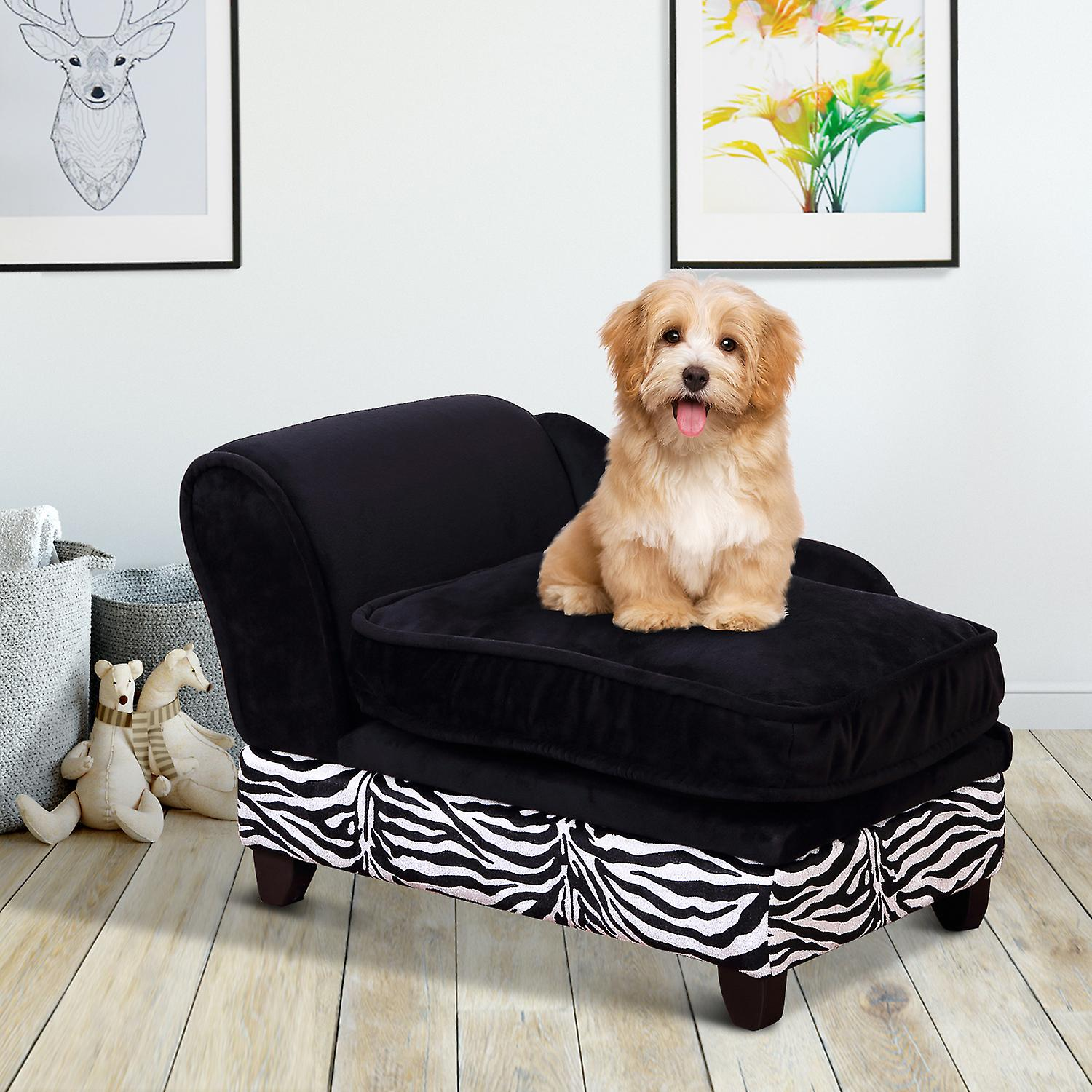 Swell Pawhut Luxury Pet Sofa Dog Bed Chaise Lounge Soft Mat Indoor Couch Zebra Stripe W Cushion Andrewgaddart Wooden Chair Designs For Living Room Andrewgaddartcom