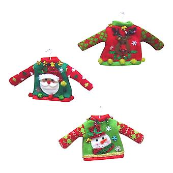 December Diamonds Tacky Sweaters Santa Snowman Reindeer Set of 3 Ornaments
