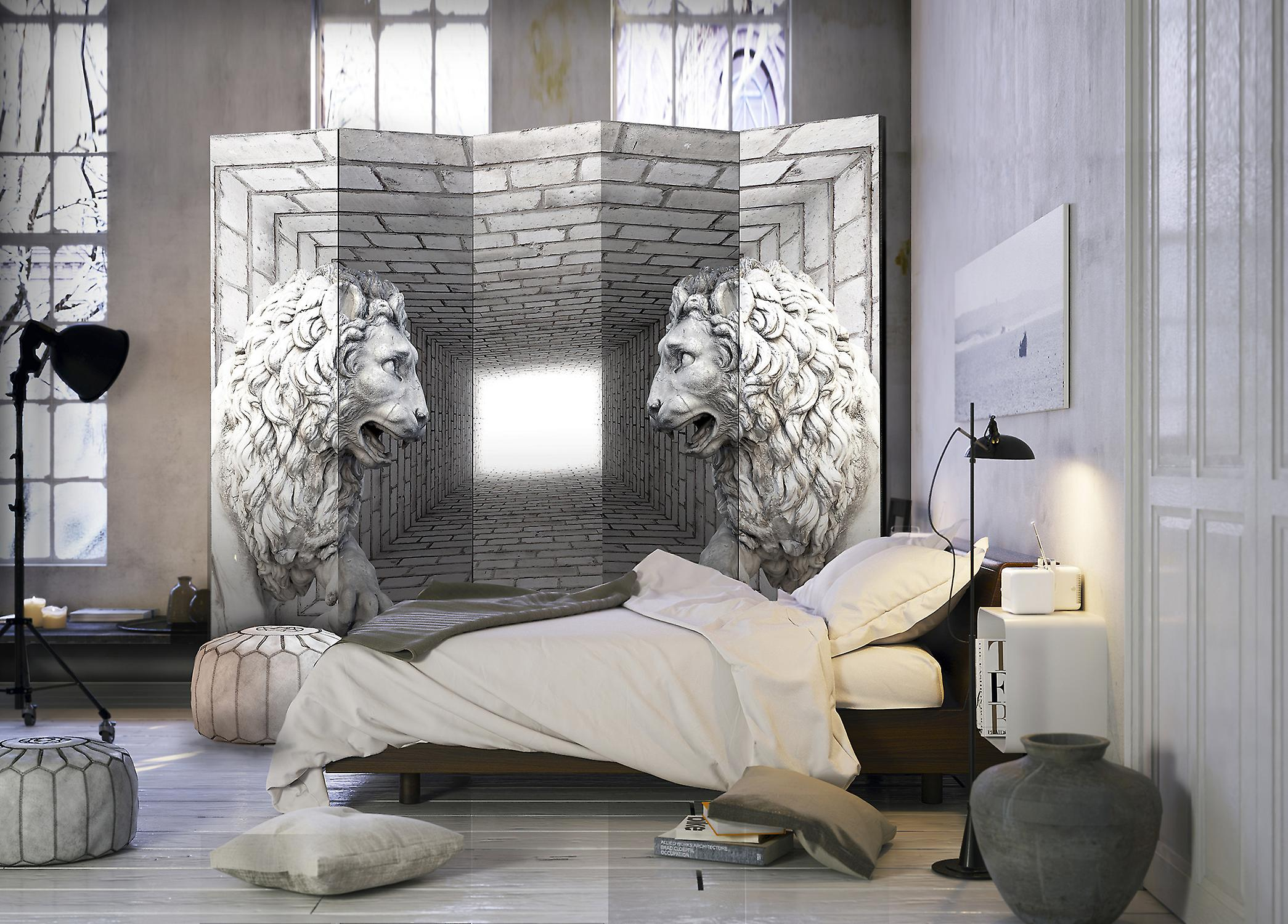 Paravent 5 volets - Stone Lions II [Room Dividers]