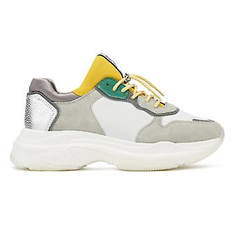 Bronx Baisley Womens White / Yellow / Silver Chunky Trainers