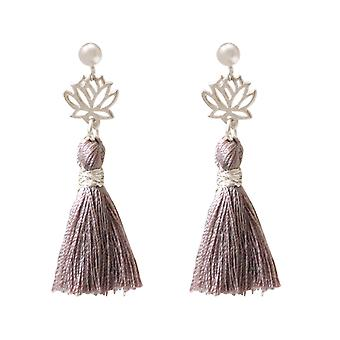 Gemshine Earrings Earrings Silver Lotus Flower Tassel Rose YOGA 4 cm