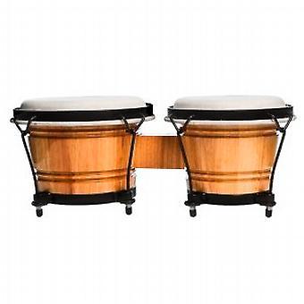 World Rhythm 6 & 7 Beginners Oak Bongo Drums - Natural Finish Bongos