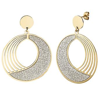 Earrings-coated earrings round stainless steel gold colors with glitter effect