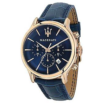 Maserati Mens Epoca 42mm | Blue Dial | Blue Leather Strap R8871618007 Watch