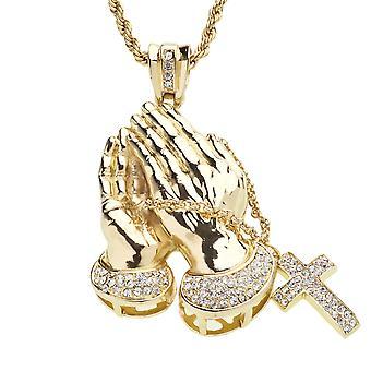 Gelado para fora bling pingente - ouro mãos rezando
