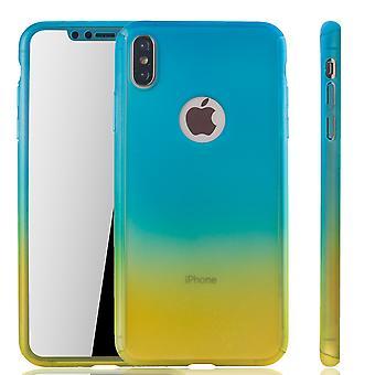 Apple iPhone skydd fallet full täcker tank skydd glas blå / gul XS Max mobil fall