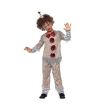 ビンテージ ピエロ少年の衣装、ハロウィーン子デザインの凝った服、大きな年齢 10-12
