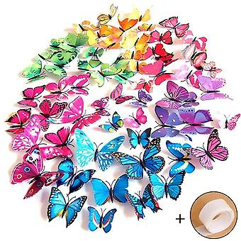 72 X 3d Butterflies Wall Decoration Sticker Decals Blue Purple Green Yellow Pink- For Weddings DIY Creative Projects Valentine