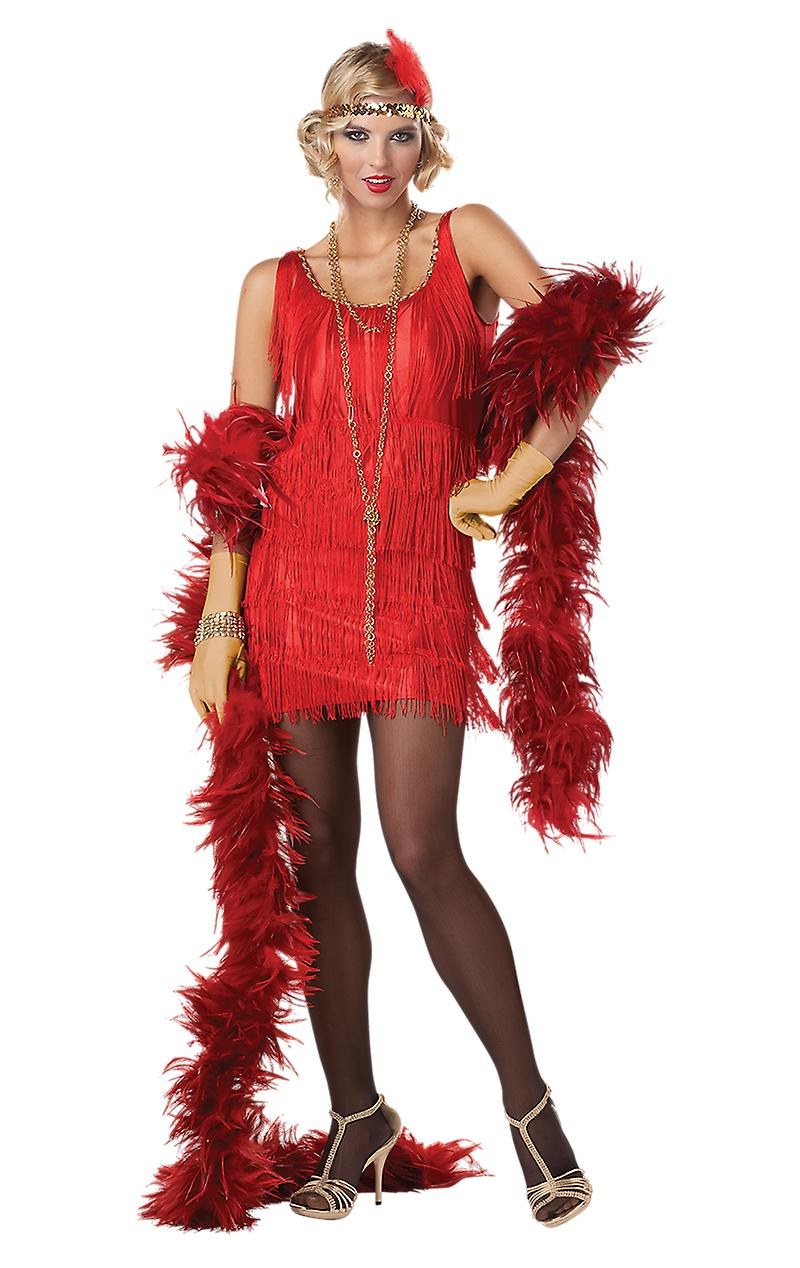 Womens 20s Red Flapper Dress Gangster Gatsby Film & TV Fancy Dress Costume