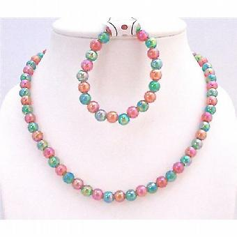 Multicolored Girls Necklace Bracelet Christmas Gift Girls Return Gift