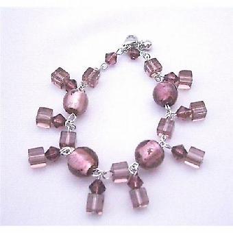 Bei cristalli ametista simulato perline elegante penzoloni Bracciale