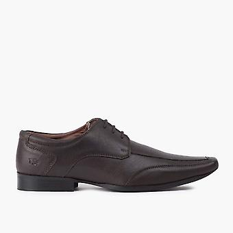 Mens brown chiselled toe derby