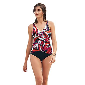Susa 4289-048 Women's Red Vibes Black Floral Costume One Piece Swimsuit