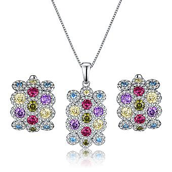 925 Sterling Silver Colourful Filigree Set