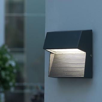 Lutec Radius Square 9W Exterior LED Low Level Wall Light Or Step Light In Graphite
