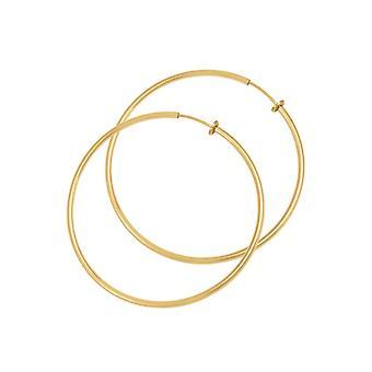 Eternal Collection Hoopla 35mm Gold Tone Clip On Hoop Earrings