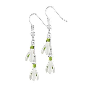 Eternal Collection Spring Snowdrop White Enamel Silver Tone Drop Pierced Earrings