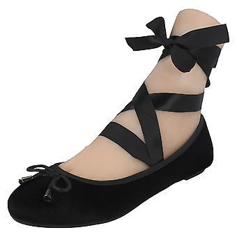 Dames plek op Tie Up been platte ballerina's F80273