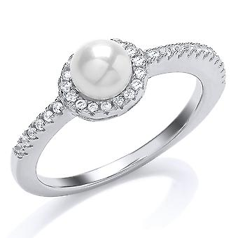 Jewelco London Rhodium Plated Silver Round Cubic Zirconia and Freshwater Cultured Pearl Halo Full Moon Dress Ring 6mm