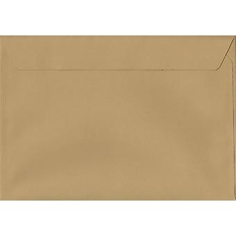 Biscuit Beige Peel/Seal C4/A4 Coloured Brown Envelopes. 120gsm Luxury FSC Certified Paper. 229mm x 324mm. Wallet Style Envelope.