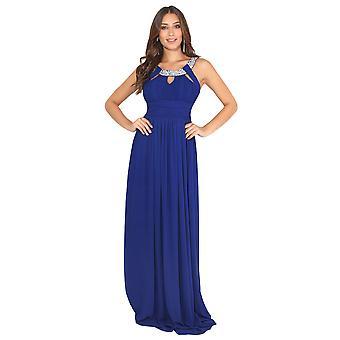 KRISP Diamante Neck Chiffon Maxi Dress