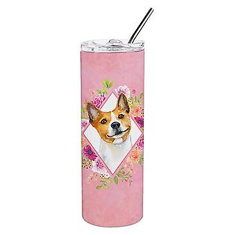 Basenji Pink Flowers Double Walled Stainless Steel 20 oz Skinny Tumbler