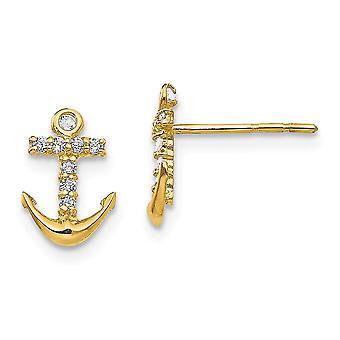 14k Gul guld poleret CZ Cubic Zirconia simuleret Diamond Nautical Ship Mariner Anchor Post Øreringe smykker gaver til