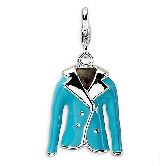 925 Sterling Silver Polished Rhodium plated Fancy Lobster Closure 3 D Enameled Blue Jacket With Lobster Clasp Charm Pend