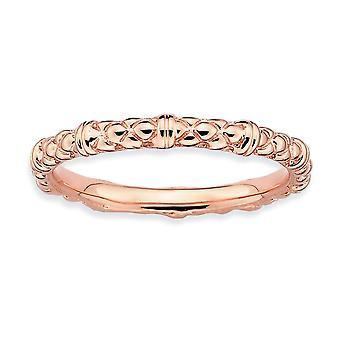 925 Sterling Argent Poli Motifs Empilés Expressions Pink plaqué Cable Ring Jewelry Gifts for Women - Ring Size: