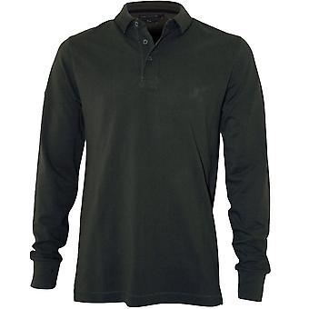 French Connection Cotton Pique Long-Sleeve Polo Shirt, Forest Green