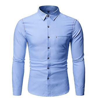Allthemen mannen ' s Solid Cotton mix Business Casual lange mouw shirt