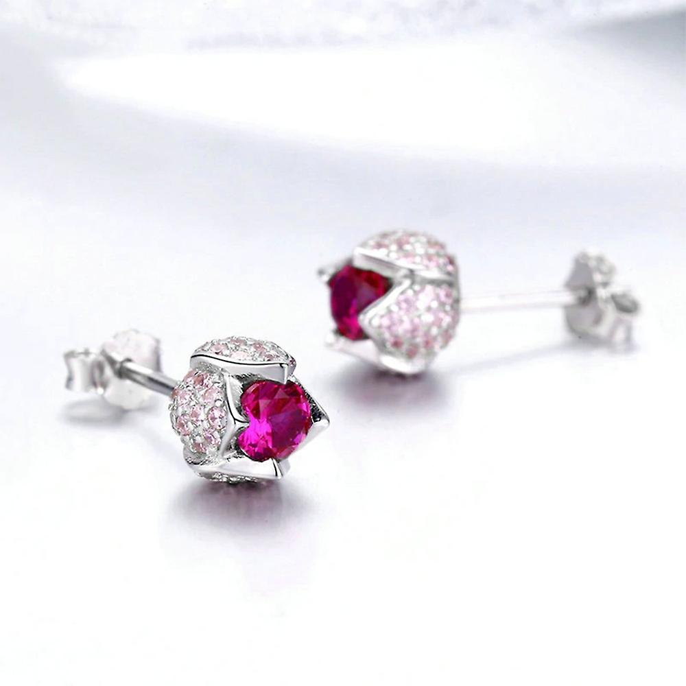 Boucles d'Oreilles Femme Tulipe orné de Cristal de Swarovski Rose et Argent 925 8328