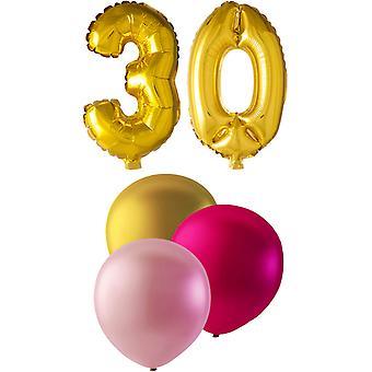Birthday Balloons 30 years gold-light pink-pink Metallic