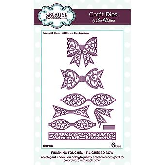 Expressions créatives finitions Collection filigrane 3D Bow Die, Pack de 1
