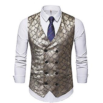 Allthemen Men 's Slim Fit V-Neck Bright Impresso Four Seasons Suit Vest