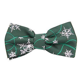 Weihnachtsfliege Grün mit Schneeflocken von Fabio Farini Streifen Querbinder