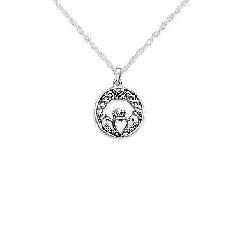 Celtic Irish Claddagh Love Loyalty And Friendship Round Shape Necklace Pendant - Inclut un 16'quot; Silver Chain