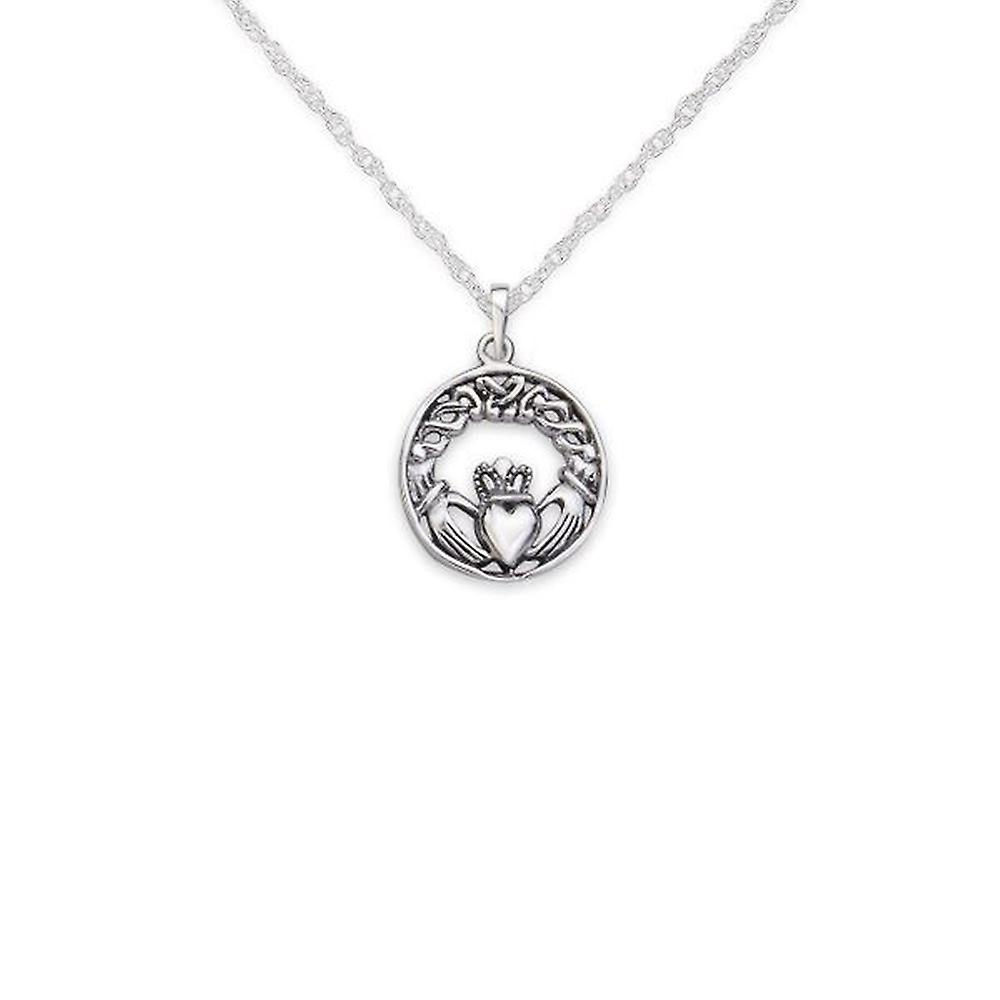 Celtic Irish Claddagh Love Loyalty And Friendship Round Shape Necklace Pendant - Includes A 20