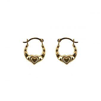 Eternity 9ct Gold Small Heart Kids Boucles d'oreilles cerclées
