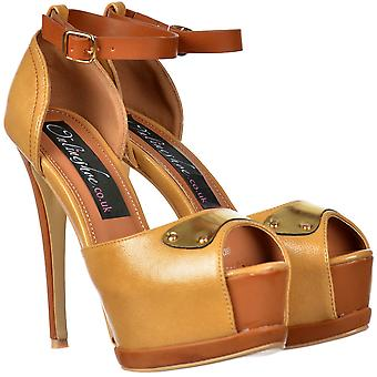 Onlineshoe Two Tone Leather Effect Peep Toe Stiletto Heel - Gold Metal Badge Detail - Camel