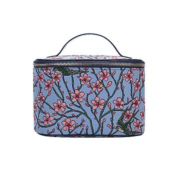 Almond blossom and swallow makeup bag by signare tapestry / toil-blos
